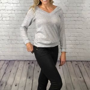 Soft and Chic Gray V Neck Sweater